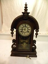 "ANTIQUE AMERICAN ANSONIA ""PARISIAN"" MODEL FINE WALNUT PARLOR CLOCK CIRCA 1901"