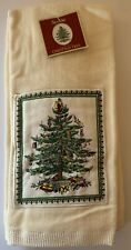 Spode Christmas Tree 2 Ivory Appliqued Kitchen Dish Towels  New