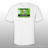 Indiana Zombie Hunting Permit T-Shirt Tee Shirt Free Sticker outbreak response
