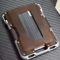 Rfid blocking Aluminium Card Wallets Men Leather Slim Metal Credit Card Holder