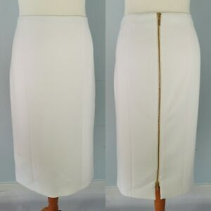 Amanda Wakeley Size 14 White Lined Straight Pencil Skirt Gold Zip Back