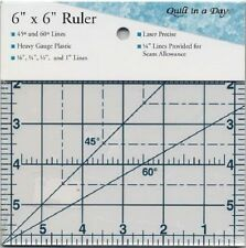 6 x 6 Square Ruler ~ 6 Inch Quilt In A Day ~ 1/4 Seam Allowance ~ Clear Lines