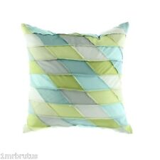 "Sky Vinca Diagonal Patchwork Decorative Pillow 20"" Blue Green White Shabby Chic"