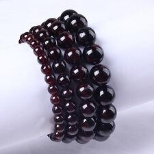1x Classic Natural Garnet Round Beads Gemstone Stretch Stone Bracelet Jewelry