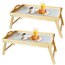 Set Of 2 Large Pinewood Wooden Folding Bed Breakfast Tray Beige