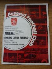 26/11/1969 Arsenal v Sporting Lisbon [Inter Cities Fairs Cup] (Folded, Creased,