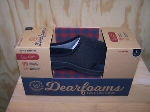 Original Dearfoams Memory Foam Indoor Outdoor Mens Black Slippers L 11-12 New