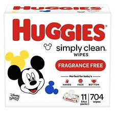Simply Clean Unscented Baby Wipes 11 Flip-Top Packs (704 Wipes Total) by Huggies