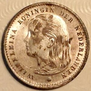 ~ 1896 Netherlands  Wilhelmina Ten 10 Cents