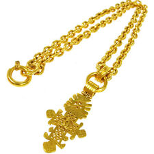 Authentic CHANEL Vintage CC Logos Gold Chain Pendant Necklace Accessories V14249
