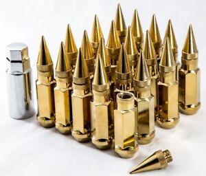 92mm AodHan XT92 12X1.5 Steel Gold Spiked Lug Nuts Fits Toyota Yaris Mr2 Corolla