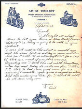 1939 Hornell NY - Harley Davidson Motorcycles  Arthur Witherow  Letter Head RARE