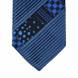 LNWOT Brioni Cobalt Black 100% Silk Pleated Patchwork Self-Tipped Tie