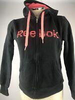 Reebok Women's Hoodie, size XS,  black, pink,  cotton, polyester