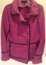 Purple Fuchsia Steve Madden Pea Coat Double Breasted Black Piping Fur Lined Sz.L