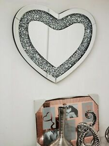 Love Heart Shaped Wall Mirror Sparkly Silver Diamond Crushed Crystal 50x60 jewel