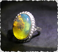 Exquisite Natural Clear Sky Blue Amber .925 Sterling Silver Ring #7 ½