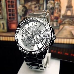 AUTHENTIC GUESS LADIES' SASSY WATCH SILVER TONE RRP:$349 U0705L1 Brand New