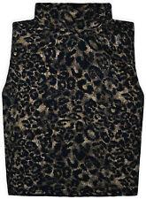 Ladies New Sleeveless Polo Vest Turtle Neck Crop Top Women Animal Top UK S/M M/L