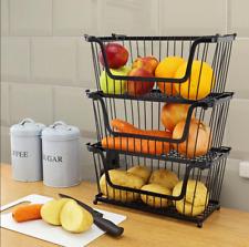 3Pcs Small Iron Metal Wire Vegetable Fruit Storage Kitchen Stackable Basket Rack