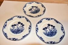 """Stafford J&G Meakin England 3 Blue and White Sol Floral Dinner Plates 9"""""""