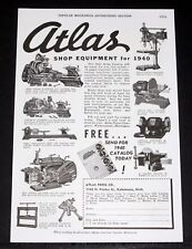 1940 Old Magazine Print Ad, Atlas Shop Equipment For 1940, Lathes, Shapers, Etc!