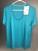 ICEBREAKER Merino Wool Women's Scoop Graphic T-shirt - Blue - LARGE - NEW!