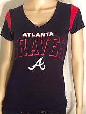 Atlanta Braves Mlb Baseball Team Logo Campus Lifestyle Womens Xs Blue Red Shirt