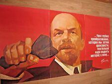 #2 HUGE! ORIG. 1987 Soviet Russian Political LENIN Communist Poster Space Stalin