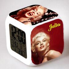 Reveil cube led lumière nuit alarm clock marilyn personnalisé prénom réf 24