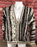 Vtg Cotton Traders Mens XL Cardigan 3F Textured Sweater Coogi Cosby Biggie 90s