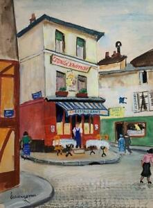 Lucien Genin Gouache French Listed Artist Montmarte Signed Nice!