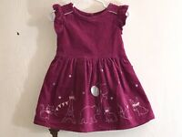 Gymboree Baby Girl's Sz 12-18M Dress Pink Velvet Silver Embroidered Animals EUC