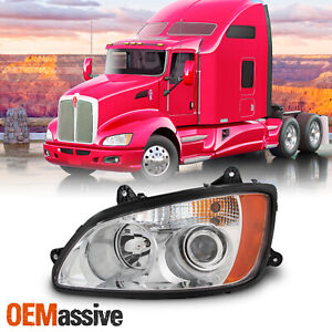 For 08-17 Kenworth T660 OE Projector Headlights Chrome Housing Left Driver Side