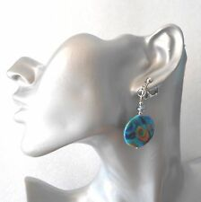 Short length peacock feather shell clip-on earrings - pierced option by request