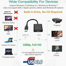 USB 3.0 to VGA Video Display External Cable Adapter Windows 7 8 10 Multi-Display