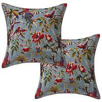 "Indian Kantha Cushion Cover Home Decor Cotton Pillow Throw Set OF Pair 16"""
