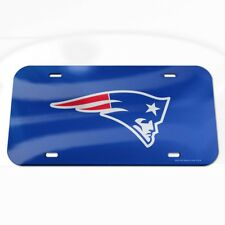 New England Patriots Wincraft Logo Blue Crystal Mirror License Plate FREE