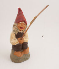 "Vintage Fishing Gnome Composite? 10"" w/Pole Sitting Stone Wall (G3L)"