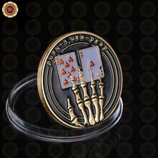 WR Poker Card Guard Skeleton Hand GOLD Casino Poker Chip Token Coin Memento Gift