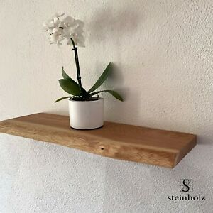 Eiche Holz massiv Eichenplatte Regal mit Baumkante Wand Board Massivholz geölt