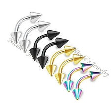 4 PCS Titanium Anodized Spike Eyebrow 8mm Piercing Bar Ring