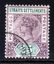 Straits Settlement Malaya 1892 QV 25ct used Scuffed space filler SG 103c ( H1196