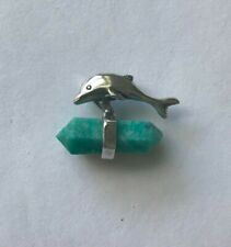 Dolphin Healing Point Amazonite Agate wrapped Sterling Silver Porpoise Pendant
