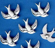 WHITE BIRD - Swallow Kitsch Tattoo Wedding Novelty Dress It Up Craft Buttons