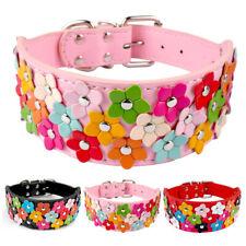 PU Leather Dog Collar Flower Studded 5cm Wide Adjustable for Female Girls Pink