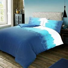 Modern Cotton Rich Turquoise Blue Watercolour Gradient Duvet Cover Bedding Set