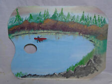 Artist Palette Figural Oil Painting Fishing On A Pond Signed Dated 1986