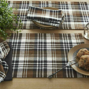 2 Derby Black Brown Cream Plaid Country Farmhouse Placemats 13x19