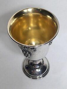"""Vintage Sterling Silver 5.25"""" Kiddush Cup Wine Goblet Grape Motif 109.7g"""